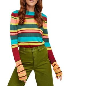 FREE PEOPLE Show Off Your Stripes Pullover NWT